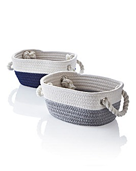 Two Tone Cotton Rope Storage Pack of 2