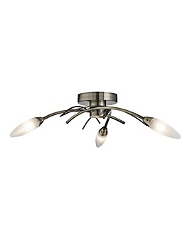 3 Light Ceiling Brass With Glass Shades