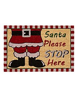 Santa Stop Here Coir Door Mat