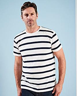 W&B Navy/White Linen Mix T-Shirt R
