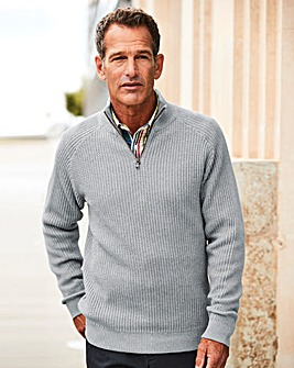 W&B Grey Zip Neck Jumper R