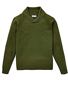 W&B Khaki Shawl Neck Jumper R