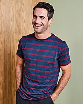 W&B Navy/Red Linen Mix T-Shirt R