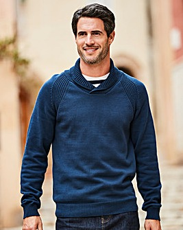 W&B Navy Shawl Neck Jumper R