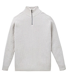 W&B Oatmeal Zip Neck Jumper R