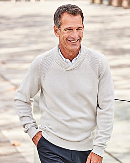 W&B Oatmeal Shawl Neck Jumper R