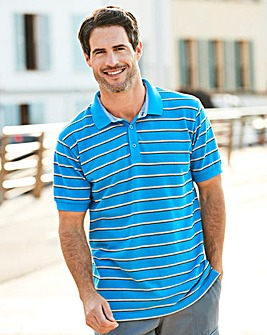 W&B Blue Stripe Polo Shirt L