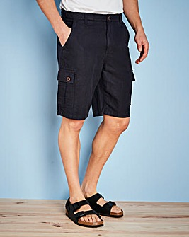 W&B Navy Linen Mix Cargo Shorts