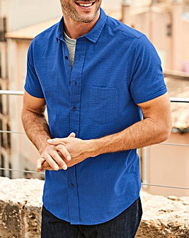 W&B Cobalt Seersucker Stripe Shirt L