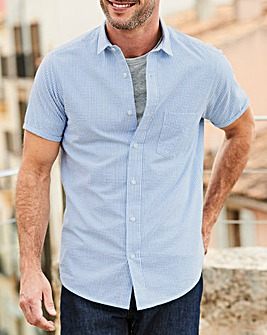 W&B Blue Stripe Seersucker Shirt R
