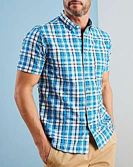 W&B Blue Check Seersucker Shirt R