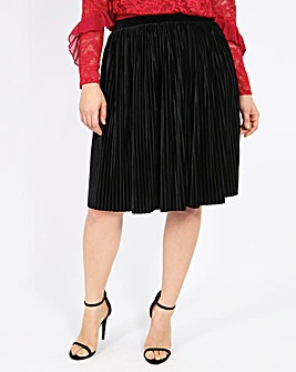 Lovedrobe Velvet Pleated Skirt