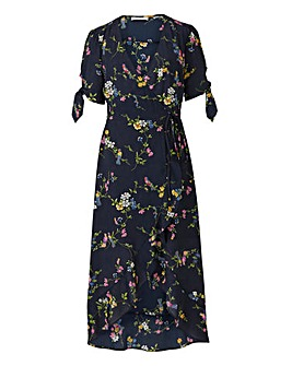 Oasis Bouquet Bird Wrap Midi Dress