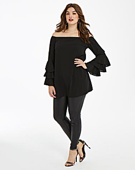 AX Paris Curve Ruffle Sleeve Blouse