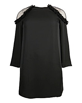Lovedrobe Mesh and Ruffle Swing Dress