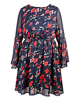 Lovedrobe Printed Bell Sleeve Dress