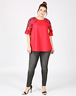 Lovedrobe Mesh Cold Shoulder Top