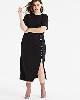 Koovs Lace Up Maxi Dress