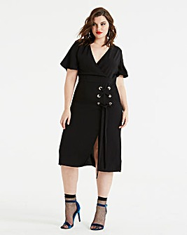 Koovs Eyelet Wrap Midi Dress