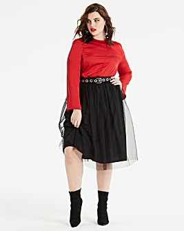 Koovs Mesh Midi Skirt