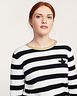 Violeta by Mango Stripe Star Jumper