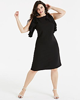 Lovedrobe Shift Dress with Ruffle Sleeve