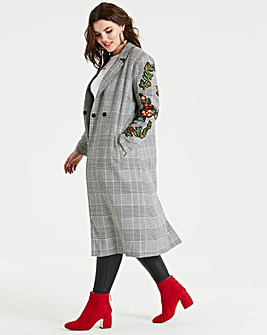 Unique 21 Check Coat with Floral Detail