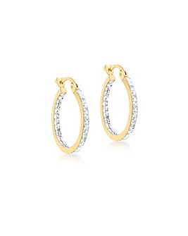 9Ct Gold Two Tone Square Tube Earrings