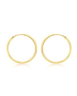 9Ct Gold 22mm Plain Hoop Earrings