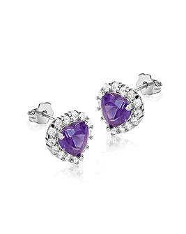 9ct Purple & White Heart Earrings