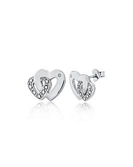 Sterling Silver & Diamond Heart Studs