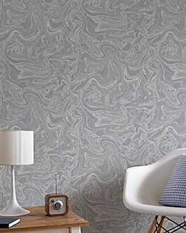 Marbled Grey and Silver Wallpaper
