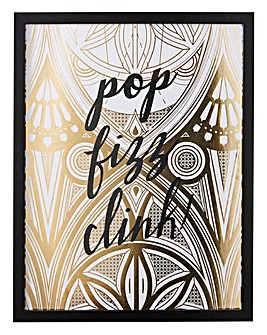 Pop, Fizz, Clink Foiled Framed Print