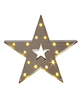 Silver Light Up Wooden Star