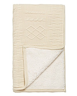 Chunky Knit Cream Sherpa Fleece Throw