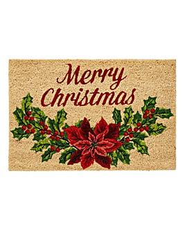 Christmas Holly Coir Door Mat