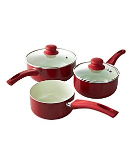 Ceramic 3 Piece Saucepan Set Red