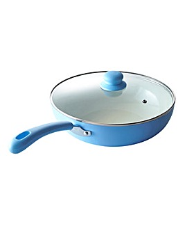 Ceramic 28cm Wok with Lid Blue