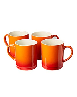 Graduated Tankard Mugs Pack of 4 Orange