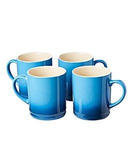 Graduated Tankard Mugs Pack of 4 Blue