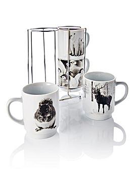 Photo Animal Set 4 Stacking Mugs