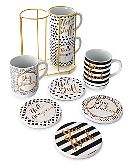 Gold Text 8Pc Mug & Coaster Set