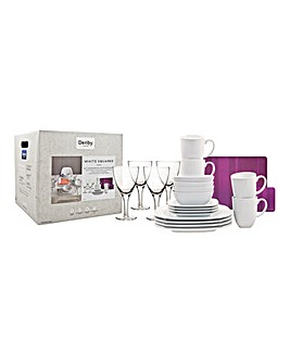 White Squares 16pc Set with Accessories