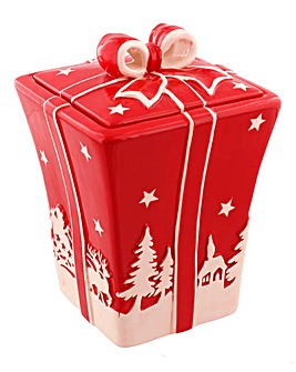Dolomite Christmas Scene Cookie Jar