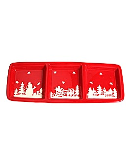 Dolomite Christmas Scene Serving Dish
