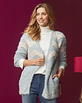 Fluffy Chevron Cardigan