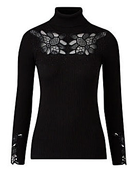 Embroidered Roll Neck
