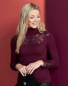 Lace Detail Roll Neck