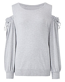 Ruched Sleeve Cold Shoulder Jumper