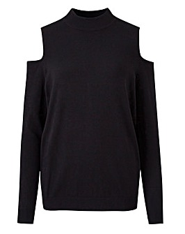 Cold Shoulder Turtle Neck Jumper